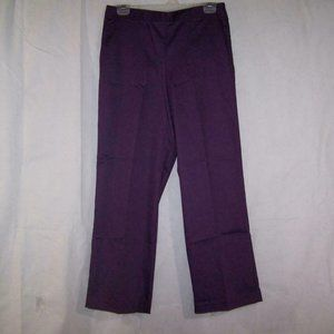 Alfred Dunner Pants Purple Stretch Pull On Pockets
